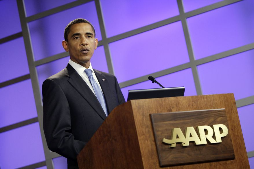**FILE** President Obama participates in an AARP town hall on health care on July 28, 2009, in Washington. (Associated Press)