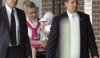 ** FILE ** Rielle Hunter (center) is escorted into the Terry Sanford Federal Building and Courthouse in Raleigh, N.C., on Thursday, Aug. 6, 2009. (AP Photo/Jim R. Bounds)