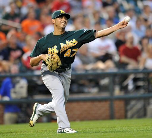 The Washington Nationals acquired 26-year-old left-handed starter Gio Gonzalez from the Oakland A's on  in exchange for four top prospects: A.J. Cole, Brad Peacock, Tommy Milone and Derek Norris. (Associated Press)