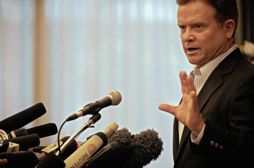 ** FILE ** Sen. Jim Webb, Virginia Democrat, addresses a press conference at a hotel in Bangkok after his return from Myanmar in August 2009.