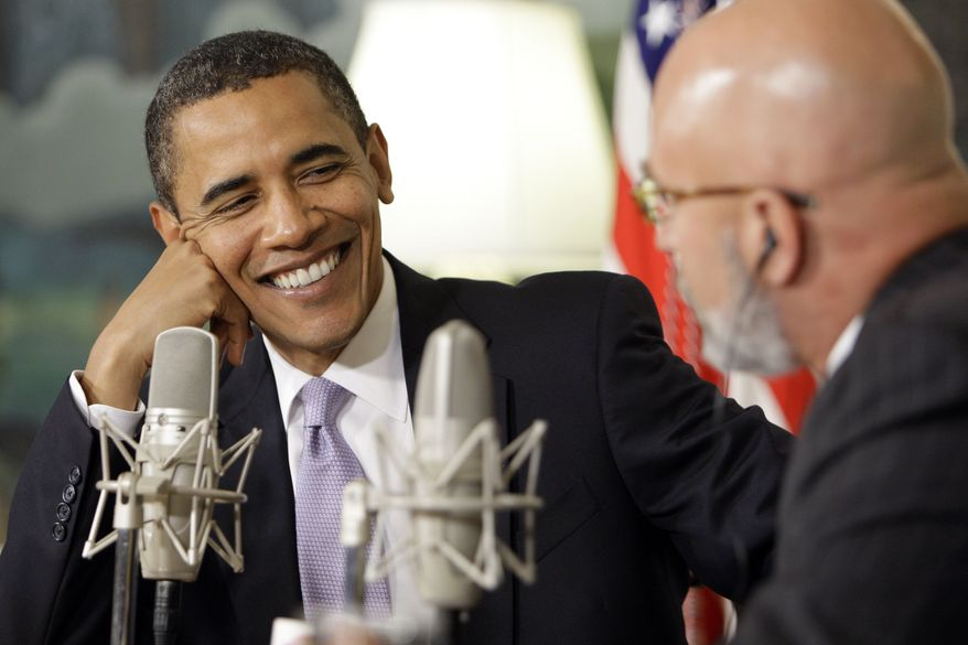 President Obama speaks during a radio interview Thursday with Michael Smerconish in the Diplomatic Room at the White House. (Associated Press)