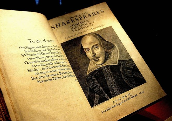 **FILE** One of the few remaining original First Folio of Shakespeare's works from 1623 on display in the Exhibition Hall at the library. Photo taken on Friday, April 13, 2007. (Bert V. Goulait / The Washington Times)