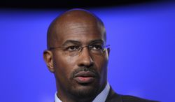 ** FILE **  Van Jones is seen at the National Summit in Detroit in on June 16, 2009. The White House issued a statement early Sunday saying Mr. Jones had quit the administration. (AP Photo/Carlos Osorio)
