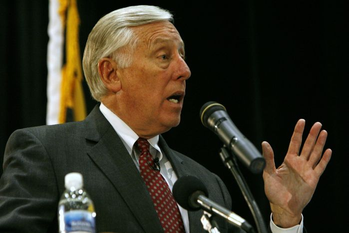 **FILE** Rep. Steny H. Hoyer, Maryland Democrat, speaks during a health-care-reform town-hall meeting in Waldorf, Md., on Tuesday, Sept. 1, 2009. (AP Photo/Jacquelyn Martin)
