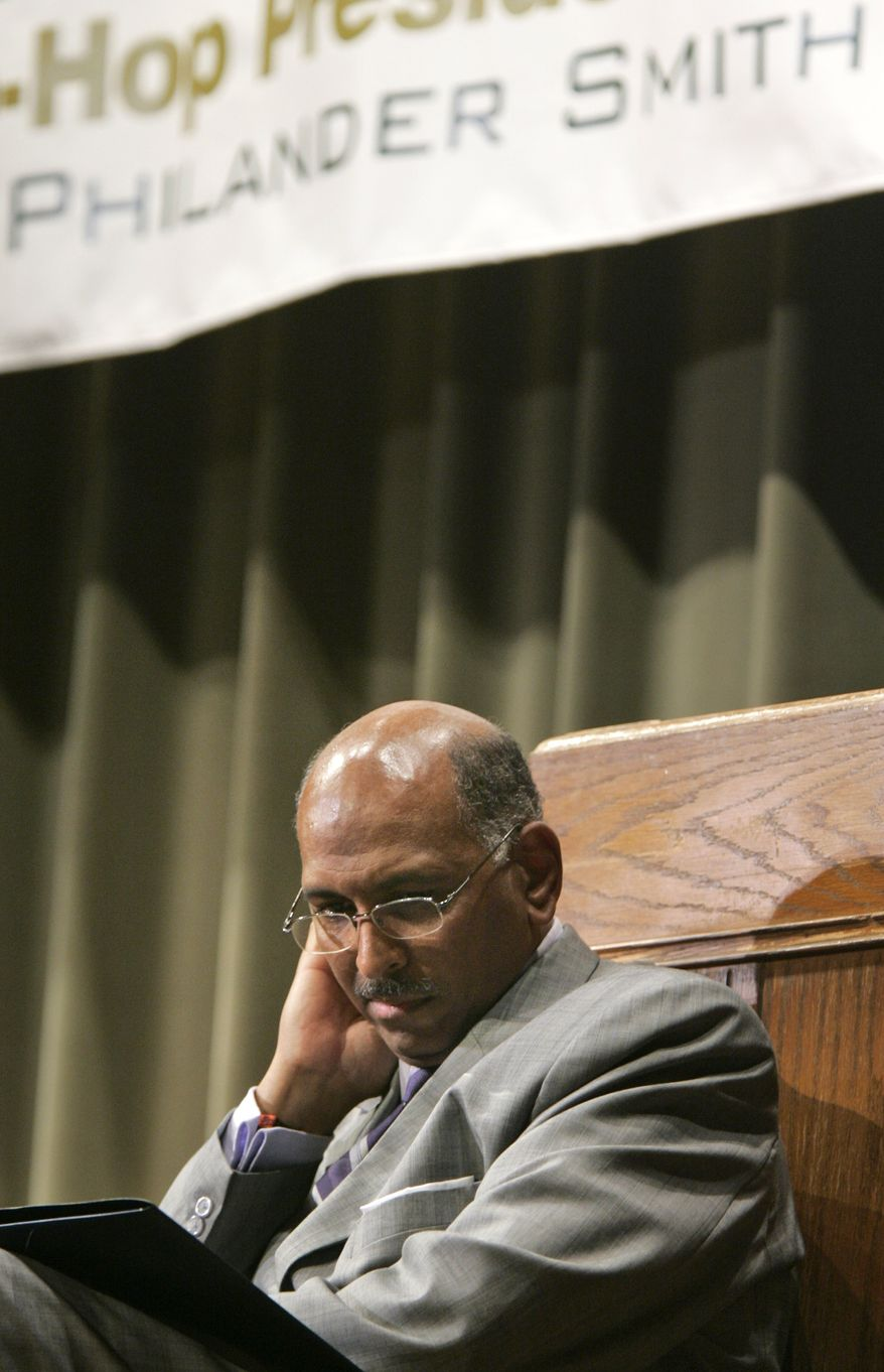 """In this file photo, Republican National Committee Chairman Michael Steele prepares to speak at the """"Bless The Mic"""" lecture series at Philander Smith College in Little Rock, Ark., Monday, Sept. 21, 2009. (AP Photo/Danny Johnston)"""