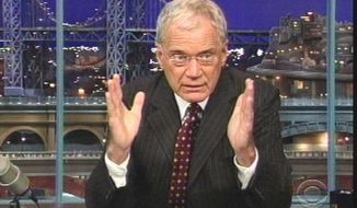 """** FILE ** David Letterman admits during an October 2009 broadcast of """"The Late Show"""" to having been sexually involved with some female employees. (AP Photo/CBS)"""