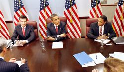Budget Director Peter Orszag (left), President Obama and Deputy Budget Director Ron Nabors face enormous budget deficits as the administration struggles with the recession, wars, health care and more. (Associated Press)