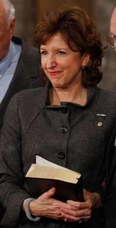 ** FILE ** Sen. Kay R. Hagan, North Carolina Democrat, is pictured after taking part in a re-enactment of the ceremonial Senate swearing-in on Tuesday, Jan. 6, 2009, in the Old Senate Chamber on Capitol Hill in Washington. (AP Photo/Charles Dharapak)