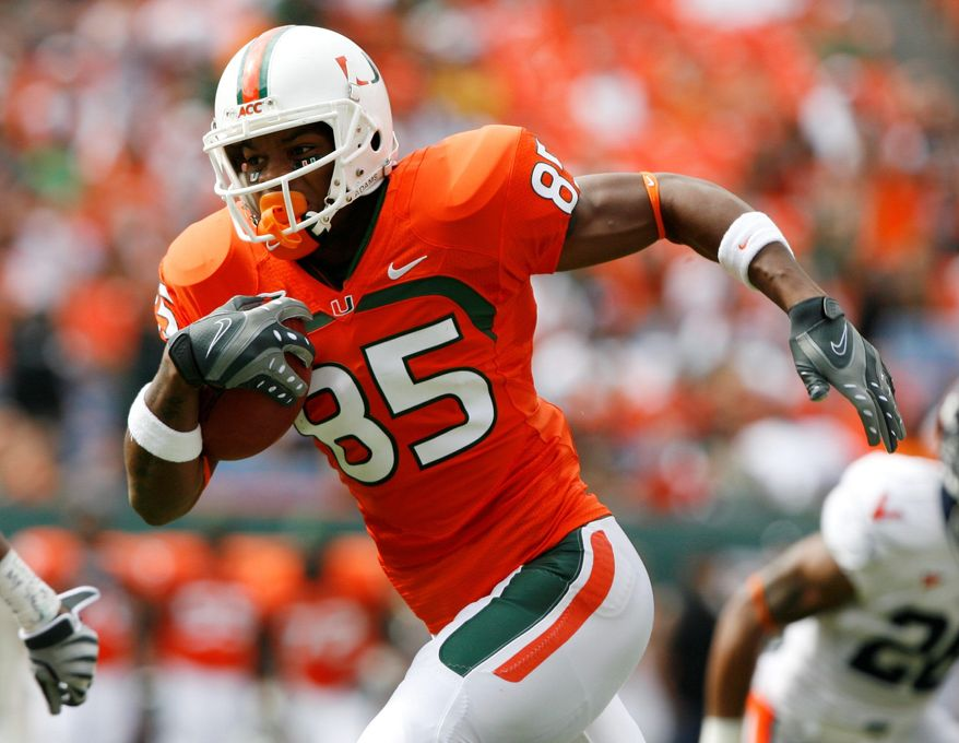 Associated Press Leonard Hankerson scored Miami's first touchdown on a pass reception from Jacory Harris.
