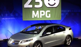 Associated press photographs The new Chevy Volt electric car has a 230 composite miles-per-gallon rating, making it 20 percent cheaper to drive than the 2010 Toyota Prius, according to Edmunds.com.