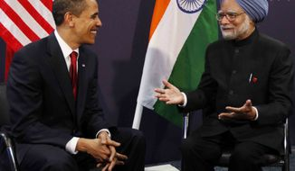 **FILE** In this photo from April 2, 2009, President Obama meets with India's Prime Minister Manmohan Singh at the G-20 summit at the ExCel Centre in London. (Associated Press)