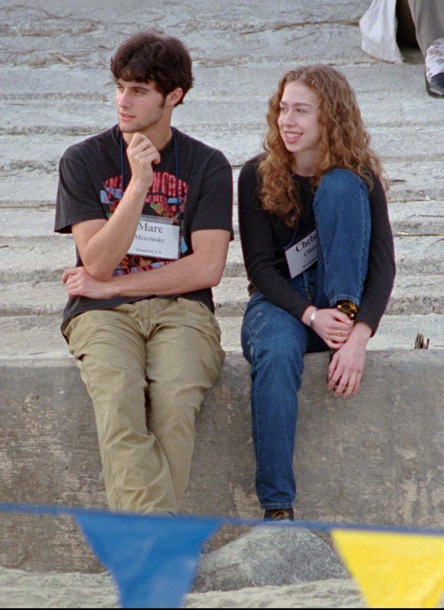 Associated Press Chelsea Clinton sits with Marc Mezvinsky on the beach at Hilton Head Island, S.C., in this December 1996 photo. The two announced over the weekend that they are engaged.
