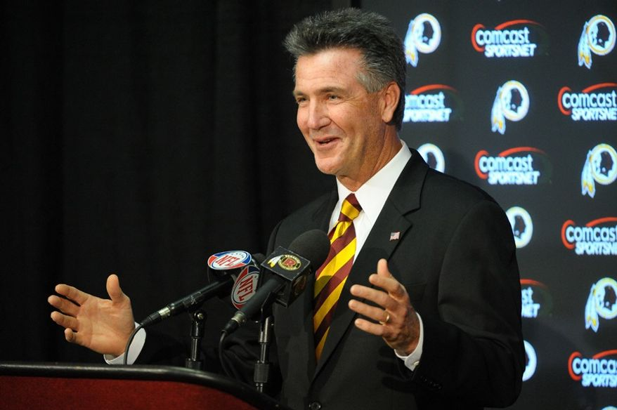 Bruce Allen talks with media Thursday during a press conference to announce his hiring as executive vice president and general manager of the Washington Redskins at Redskin Park in Ashburn, Va. (Peter Lockley/The Washington Times)