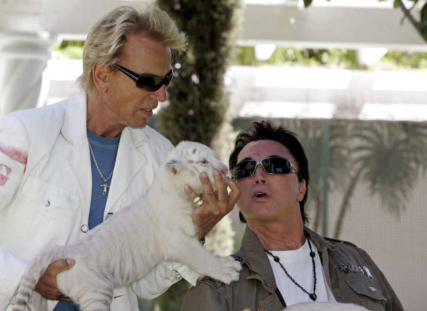 ** FILE ** Siegfried Fischbacher (left) and Roy Horn of the illusionist team Siegfried and Roy play with a 6-week-old white-striped tiger cub at their Las Vegas home in June 2008. (AP Photo/Louie Traub, File)