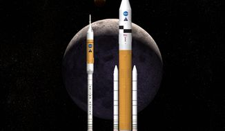 This artist rendering shows NASA's next generation of moon rockets being developed at the Marshall Space Flight Center in Huntsville, Ala. Preliminary work on two Ares spacecraft has already cost NASA $7 billion.