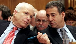FILE - In this Jan. 25, 2006 file photo, Sen. John McCain, R-Ariz., left, chats with Sen. Russ Feingold, D-Wis. on Capitol Hill in Washington. The Supreme Court did not scale back the hard-won 2002 Bipartisan Campaign Reform Act, also named the McCain-Feingold law after its sponsors, and let corporations, unions and wealthy individuals pour money into elections in time for this year's congressional races, not to mention the 2012 presidential contest; a ruling is expected as early as Tuesday, Jan. 12, 2010. (AP Photo/Lauren Victoria Burke, File)