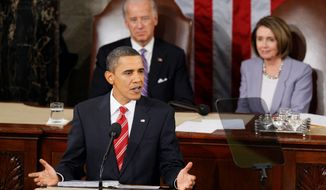 President Barack Obama delivers his State of the Union address on Capitol Hill in Washington, Wednesday, Jan. 27, 2010. Vice President Joe Biden and House Speaker Nancy Pelosi listen at rear. (AP Photo/Charles Dharapak
