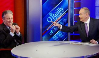 "** FILE ** ""The O'Reilly Factor"" host Bill O'Reilly points across the table at ""The Daily Show"" host Jon Stewart on the set of Mr. O'Reilly's show on Wednesday, Feb. 3, 2010, in New York. (AP Photo/Fox News Channel)"