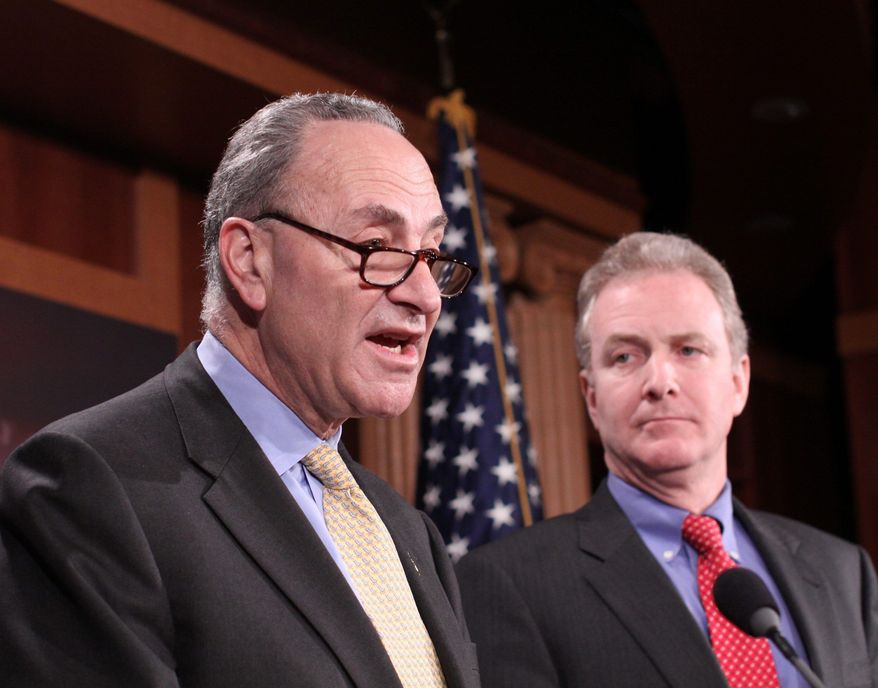 FILE PHOTOAssociated Press. Sen. Charles E. Schumer of New York (left) and fellow Democrat Rep. Chris Van Hollen of Maryland are pressing ahead with plans for legislation to counteract the Supreme Court's recent ruling in Citizens United v. FEC, which invalidated some federal campaign-finance laws.
