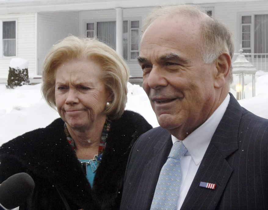 Pennsylvania Gov. Ed Rendell, with his wife, Marjorie, speaks with reporters outside the funeral home after paying their respects to the late Rep. John P. Murtha in Johnstown, Pa., on Sunday, Feb. 14, 2010. Mr. Murtha was a powerful Democrat who headed the House appropriations defense subcommittee. He died Monday, Feb. 8, at 77 after complications from gallbladder surgery. (AP Photo/Keith Srakocic)