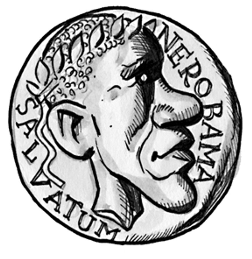 Illustration: Nerobama coin by A. HUNTER for The Washington Times.