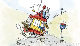 Illustration: Shovel ready trolley (after the style of Fontaine Fox) by A. HUNTER for The Washington Times.