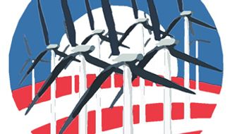 Illustration: Obama windmills by A. HUNTER for The Washington Times.