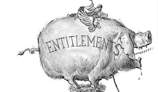 Illustration: Entitlements by A. HUNTER for The Washington Times.