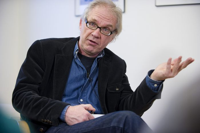 Swedish artist Lars Vilks gives an interview to the Associated Press in Stockholm on Wednesday, March 10, 2010. (AP Photo/Scanpix, Bertil Ericson)