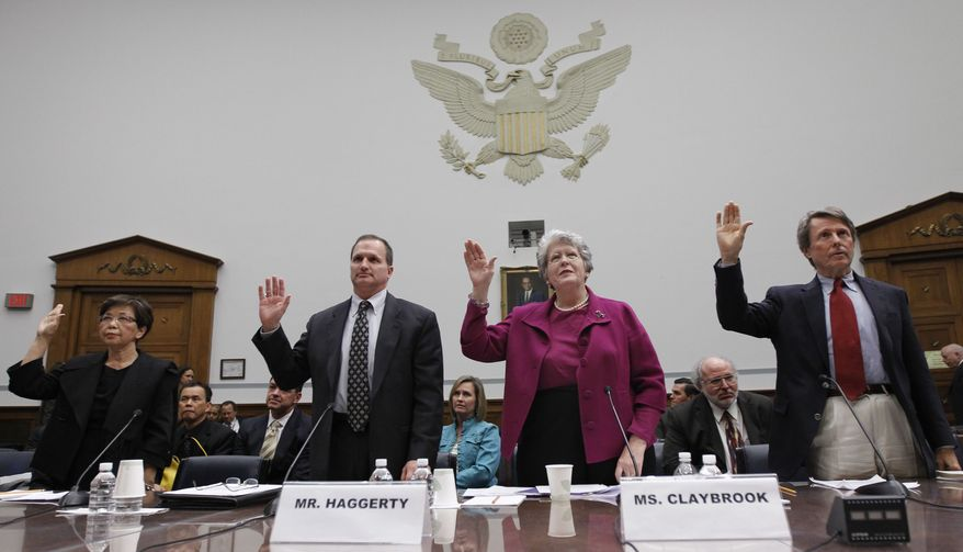 **FILE** Fe Lastrella, left, who lost family members in an accident Involving a Toyota, Kevin Haggerty, who experienced sudden unintended acceleration in a Toyota, Joan Claybrook, President Emeritus of Public Citizen and former administrator of the National Highway Traffic Safety Administration and Clarence Ditlow, Executive Director, Center for Auto Safety, are sworn in before testifying before the House Oversight and Government Reform about Toyota on Capitol Hill in Washington Wednesday, Feb. 24, 2010. (AP Photo/Alex Brandon)