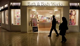 In this Feb. 22, 2010 photo, people walk by a Bath and Body Works at a shopping mall in Dallas. Retail sales post surprising 0.3 pct February increase raising hopes economy gaining momentum.(AP Photo/LM Otero)