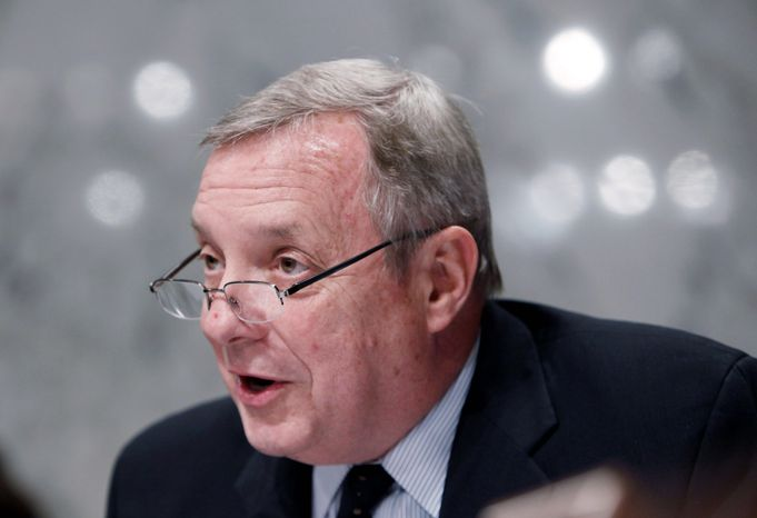 """We have to tell people, 'You just have to swallow hard and say that putting an amendment on this is going to stop it or slow it down, and we can't just let it happen,'"" Senate Majority Whip Richard J. Durbin, Illinois Democrat, said of the health care bill. (Associated Press)"