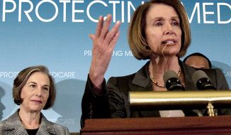 ** FILE ** House Speaker Nancy Pelosi of Calif., accompanied by Rep. Jan Schakowsky, D-Ill., left, gestures during a news conference on saving Medicare as part of the Health Care Overhaul, Tuesday, March 16, 2010, on Capitol Hill in Washington. (AP Photo/Harry Hamburg)