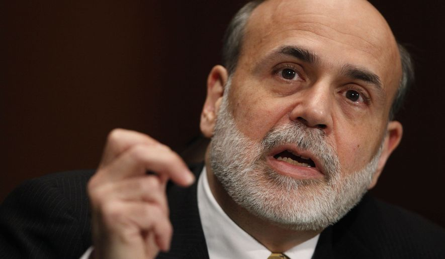 ** FILE ** In this Feb. 25, 2010, file photo, Federal Reserve Chairman Ben Bernanke testifies on Capitol Hill in Washington. (AP Photo/Manuel Balce Ceneta, File)