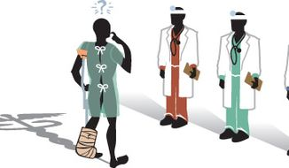 Illustration: Choosing doctor coverage by Linas Garsys for The Washington Times.