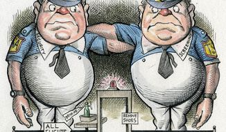 Illustration: Tweedle Dumb and Tweedle Dumber by Alexander Hunter for The Washington Times.