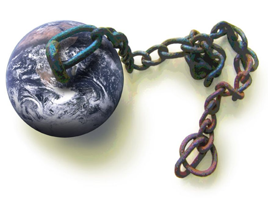 Illustration: The world in chains by Greg Groesch for The Washington Times.