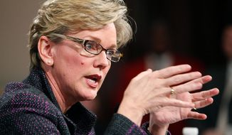**FILE** In this photo from Feb. 11, 2010, Michigan Gov. Jennifer Granholm speaks at the state Capitol in Lansing, Mich. (Associated Press)