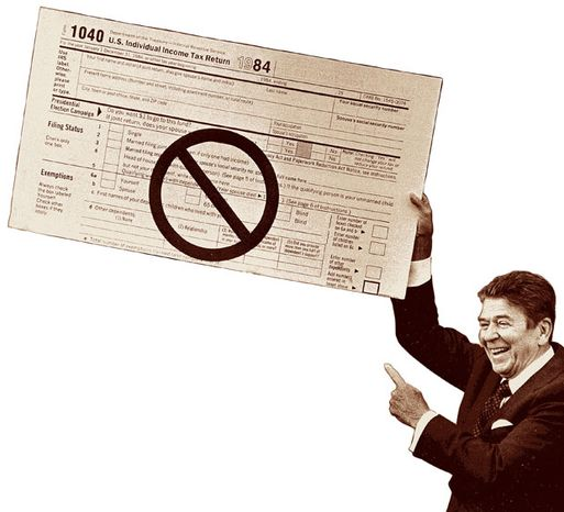 Illustration: Reagan tax reform by Greg Groesch for The Washington Times.