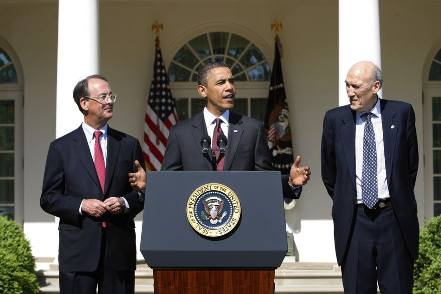 President Obama, flanked by National Commission on Fiscal Responsibility and Reform Co-Chairmen, former White House Chief of Staff Erskine Bowles, left, and former Wyoming Sen. Alan Simpson, stresses the importance of finding a bipartisan consensus on ways to improve America's long-term fiscal health and debt reduction, Tuesday, April 27, 2010, in the Rose Garden of the White House in Washington. (AP Photo/J. Scott Applewhite)