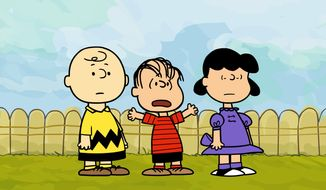 "In this image released by Warner Bros. Entertainment, Linus, center, is shown with Charlie Brown and Lucy during a new animated webisode series for ""The Peanuts."" E.W. Scripps Co. said Tuesday, April 27, 2010, that it will sell the unit that owns the licensing rights to Snoopy, Charlie Brown and the rest of the ""Peanuts"" gang for $175 million to Joe Boxer owner Iconix Brand Group Inc.(AP Photo/Warner Bros. Entertainment, FILE)"