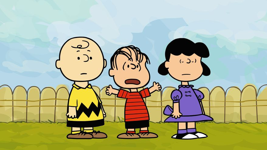 "Linus (center) plays with Charlie Brown and Lucy in a new animated ""webisode"" series. E.W. Scripps Co. said Tuesday that it will sell the unit that owns the licensing rights to Snoopy and the rest of the ""Peanuts"" gang for $175 million to Joe Boxer owner Iconix Brand Group Inc. (Warner Bros. via Associated Press)"