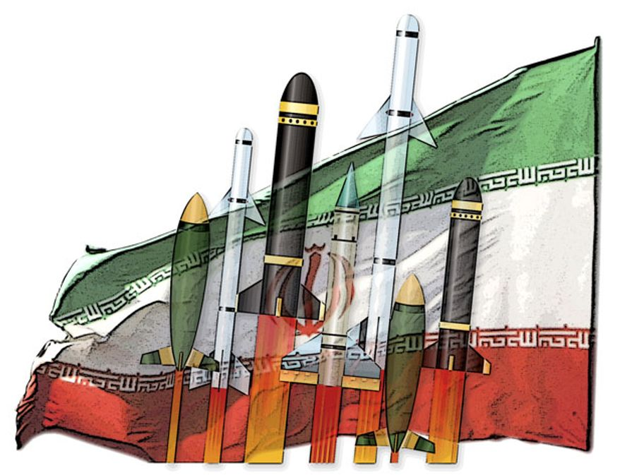 Illustration: Iranian missiles by Greg Groesch for The Washington Times.