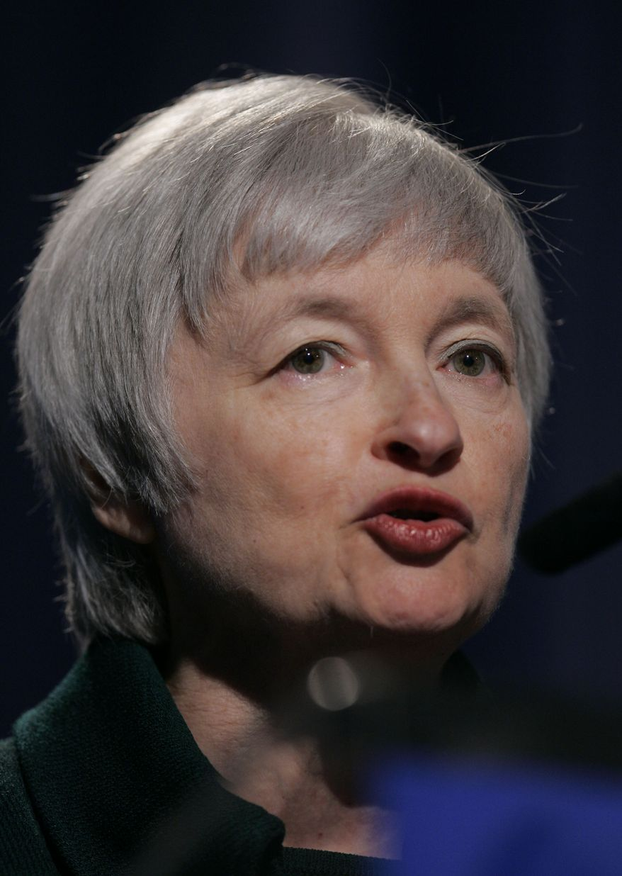 ** FILE ** In this April 16, 2008, photo, Janet L. Yellen, president and CEO of the Federal Reserve Bank of San Francisco, speaks about foreclosures to the Bay Area Council Outlook Conference in Alameda, Calif. President Obama on Thursday, April 29, 2010, named Ms. Yellen to be vice chairwoman of the Federal Reserve and filled two other vacancies at the central bank whose decisions influence economic activity, employment and inflation. (AP Photo/Paul Sakuma)