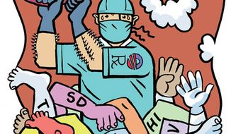Illustration: Obamacare and the states by Alexander Hunter for The Washington Times.