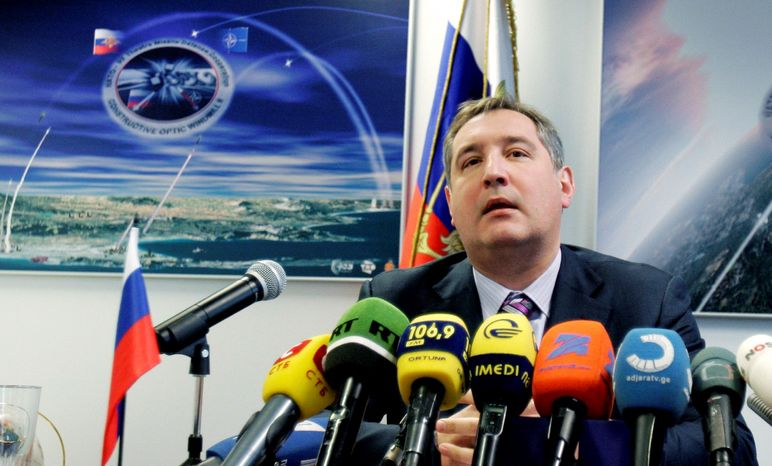 """Dmitry Rogozin, Russia's ambassador to NATO, speaks during a news conference at NATO headquarters in Brussels. The blunt-spoken ambassador, laid out Russia's position: While the U.S. still has nuclear weapons abroad, """"We have already withdrawn all the tactical nuclear weapons of Russia back home,"""" from the territories of former East European allies and ex-Soviet republics. (Associated Press)"""