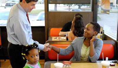 Arkansas Lt. Gov. Bill Halter does some last-minute campaigning just before polls opened Tuesday at a North Little Rock restaurant. Mr. Halter was hoping to capitalize on anti-incumbent anger in his Democratic primary challenge to Mrs. Lincoln. (AP Photo)