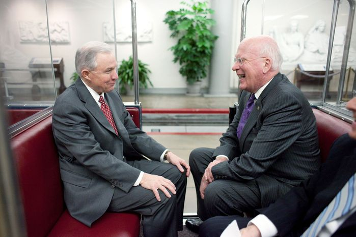 Sen. Jeff Sessions (left), Alabama Republican, and Sen. Patrick J. Leahy, Vermont Democrat