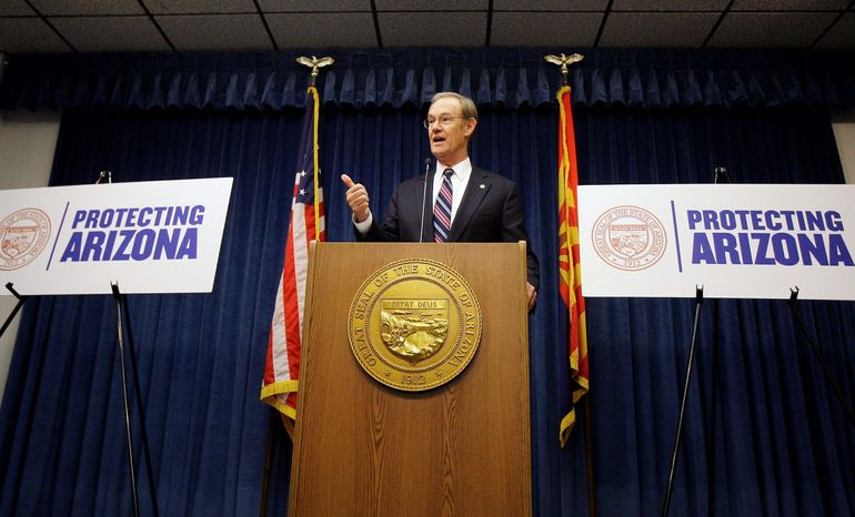 Arizona Attorney General Terry Goddard holds a news conference in Phoenix to announce that he has been informed the Obama administration will send 1,200 National Guard troops to the U.S.-Mexico border. (Associated Press)