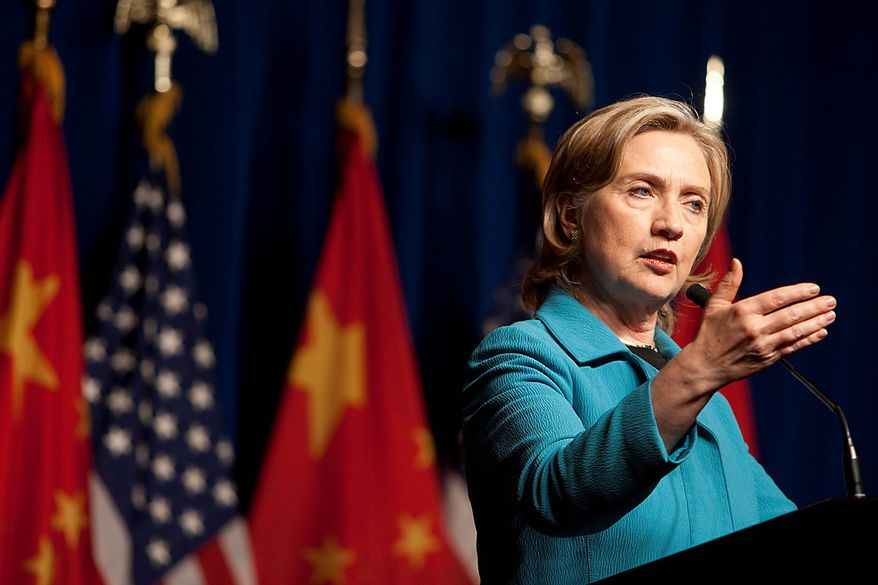 Secretary of State Hillary Rodham Clinton speaks at a news conference following the close of the U.S.-China Strategic and Economic Dialogue (S&ED) in Beijing on Tuesday, May 25, 2010. China values, and is committed to preserving, stability in the northeast Asian region, Mrs. Clinton said. (Bloomberg News/Nelson Ching)